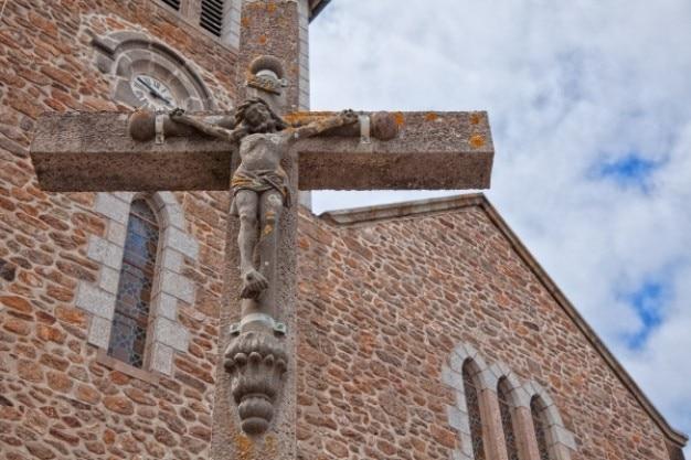 Crucifijo de piedra hdr