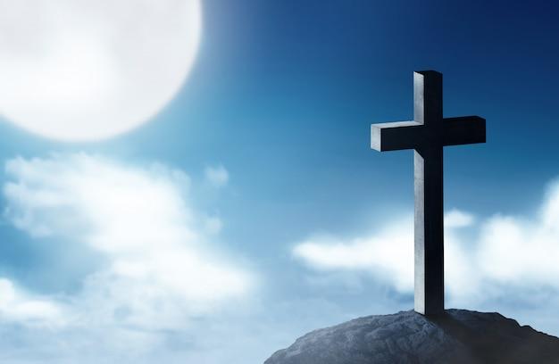 Cruz cristiana en la cima de las colinas