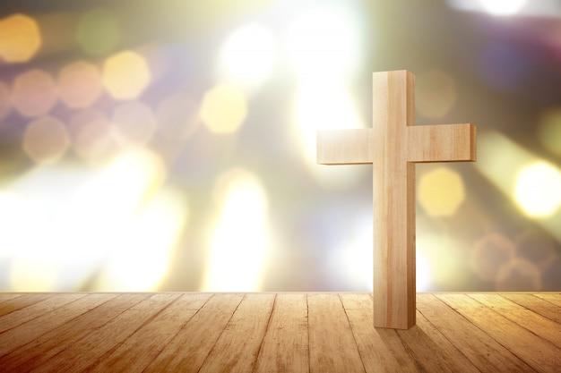 Cruz cristiana en el piso de madera