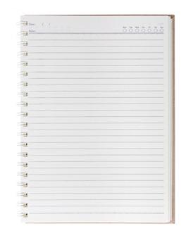 Cuaderno en blanco aislado con el fondo