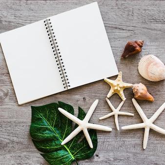 Cuaderno espiral en blanco abierto con concha, hoja y estrellas de mar en la mesa