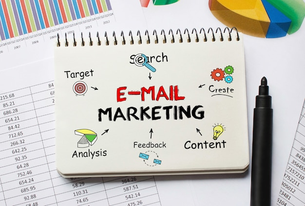 Cuaderno con herramientas y notas sobre marketing por correo electrónico, concepto
