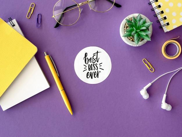 Cuaderno con el mensaje del mejor jefe de todos los tiempos