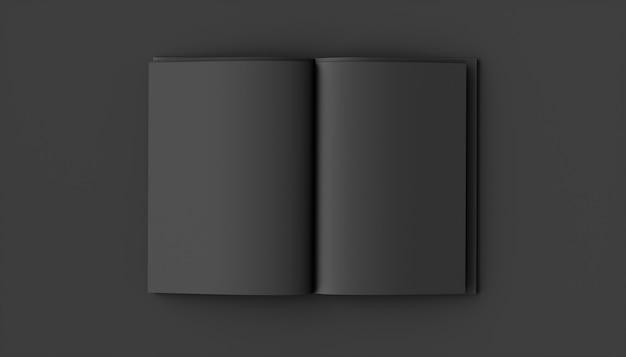 Cuaderno negro sobre un fondo negro, ilustración 3d