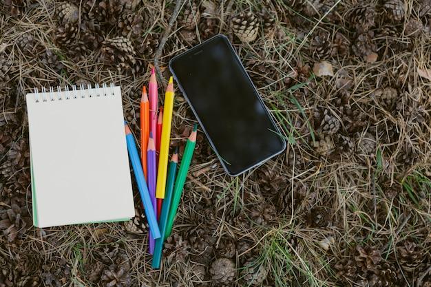 Cuaderno y pila de lápices de colores en el bosque