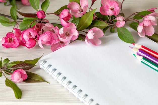 Cuaderno vacío y flores de manzana rosa sobre la mesa blanca.
