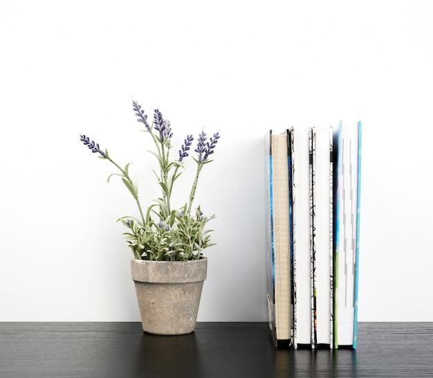 Cuadernos con páginas blancas y macetas de cerámica con plantas.