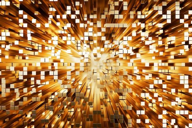 Cuadrados de oro futurista abstracto extruido, render 3d
