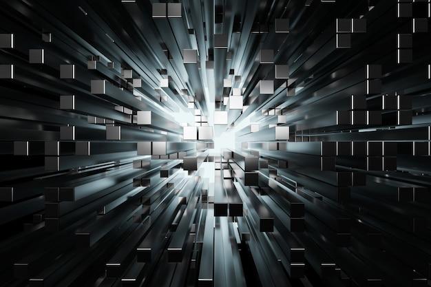 Cuadrados de plata futurista extruido abstracto, render 3d