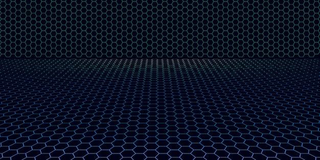 Cuadrícula de neón de estilo vapor de los 80 con horizonte oscuro campo eléctrico retro ilustración 3d