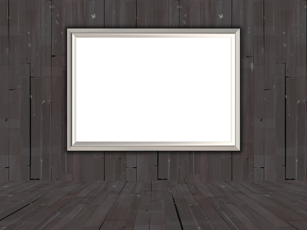 Cuadro 3d en blanco en una vieja sala de madera
