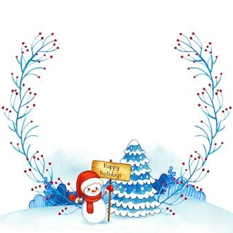 Cuadro acuarela de navidad con muñeco de nieve y árbol