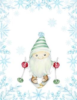 Cuadro acuarela, de ramitas azules y copos de nieve, en medio de un troll escandinavo. lindo gnomo, esquiar. tarjeta de navidad.