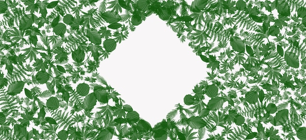 Cuadro de texto de hoja verde para agregar texto y palabras publicitarias.