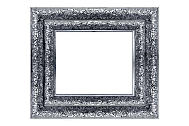 Cuadro vintage de plata y marco de fotos aislado sobre fondo blanco.