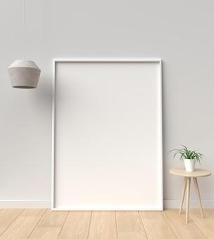 Cuadro y marco blanco, representación 3d