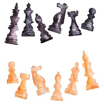Cuadros de acuarela con piezas de ajedrez.
