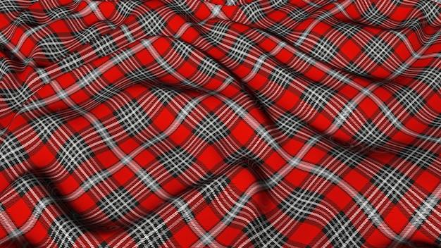 Cuadros escoceses rojo, gris y blanco, cuadros de tartán clásico, tela sin costuras, renderizado en 3d.