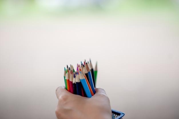 Cuadros de mano y lápiz, fondo verde.