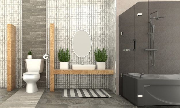 Cuarto de baño interior. representación 3d