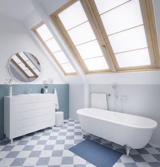 Cuarto de baño moderno en colores pastel con ventana grande representación 3d.