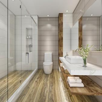 Cuarto de baño moderno de renderizado 3d con decoración de azulejos de lujo