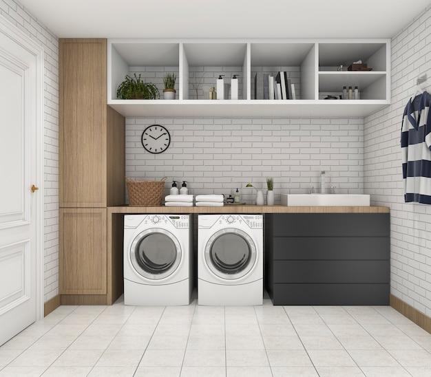 Cuarto de lavadero mínimo de madera de renderizado 3d con estante y planta