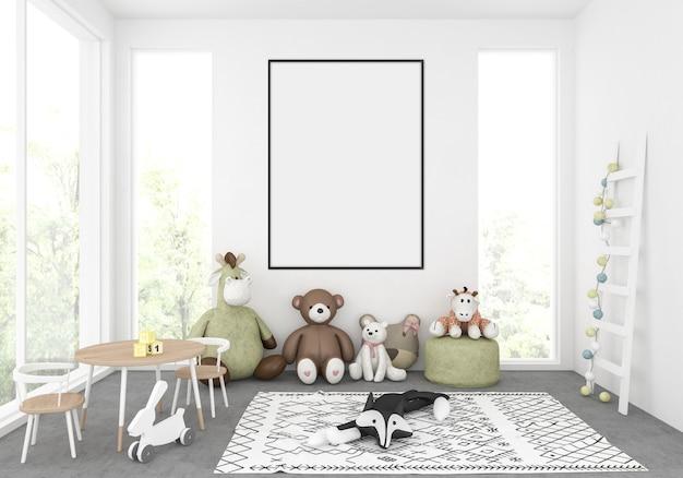 Cuarto de niños con marco vertical vacío, exhibición de arte