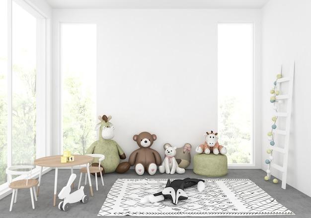 Cuarto de niños con pared en blanco, exhibición de arte