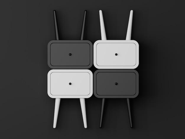 Cuarto oscuro con mesa con cajones. representación 3d