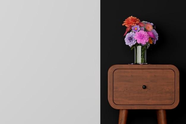 Cuarto oscuro con mesa y flor en florero. representación 3d