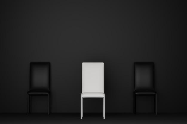 El cuarto oscuro con la silla blanca se destaca del sofá negro de la silla. representación 3d