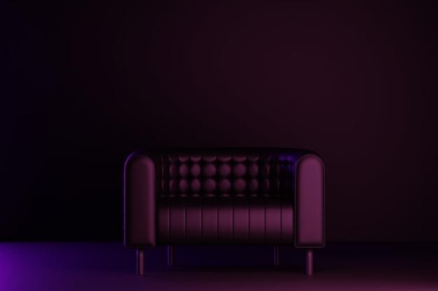 Cuarto oscuro con sofá. representación 3d