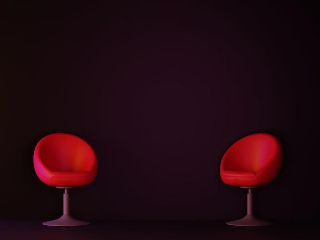 Cuarto oscuro con sofá rojo. representación 3d
