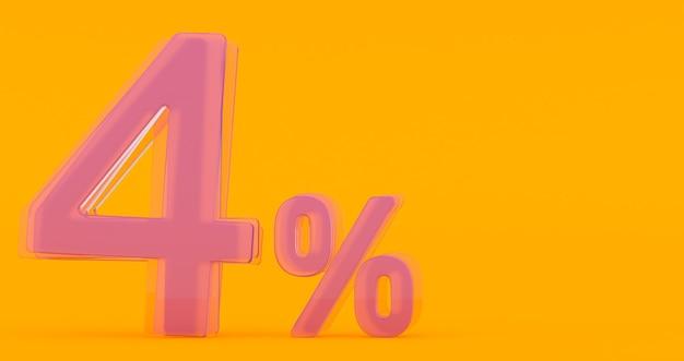 Cuatro (4) por ciento en vidrio, número de vidrio 3d sobre fondo de banner de color, render 3d