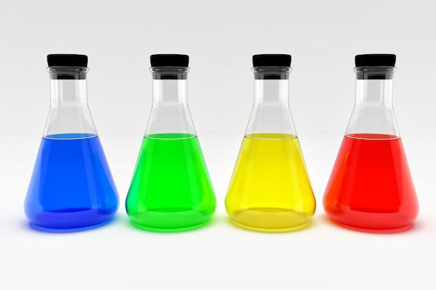 Cuatro frascos de laboratorio con tapones de corcho negro y líquidos coloridos aislados en blanco