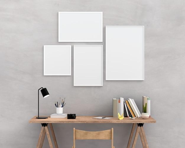 Cuatro marco de fotos vacío para maqueta en la pared