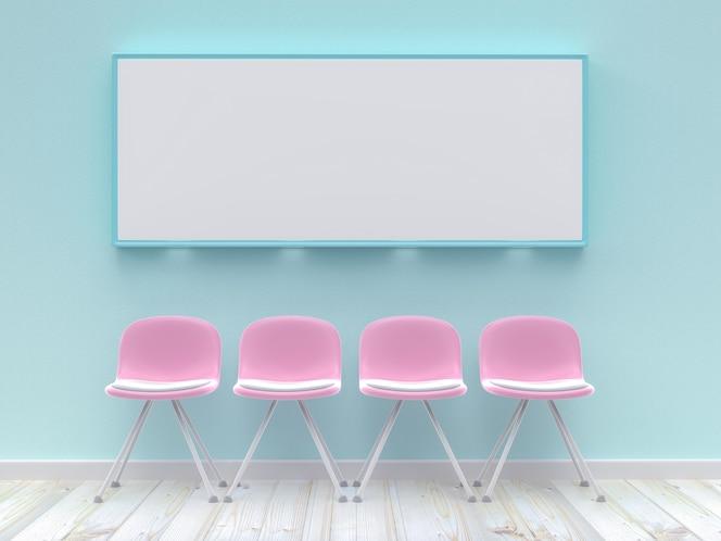 Cuatro sillas rosas con maqueta de póster en blanco en pared de hormigón color azul pastel