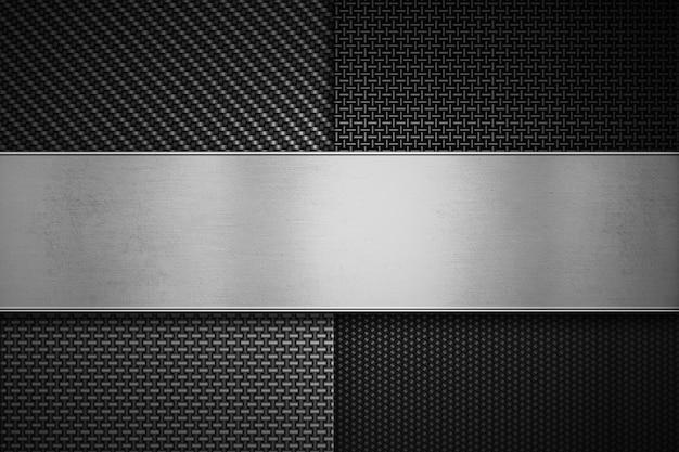 Cuatro tipos de fibra de carbono moderna con placa de metal pulido.