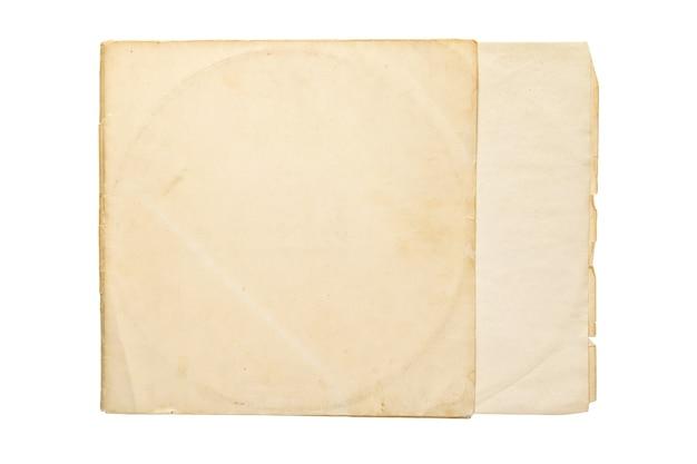 Cubierta de papel amarillo envejecido para disco lp de vinilo aislado sobre fondo blanco.