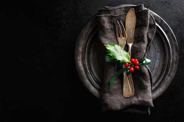 Cubiertos rústicos vintage navideños