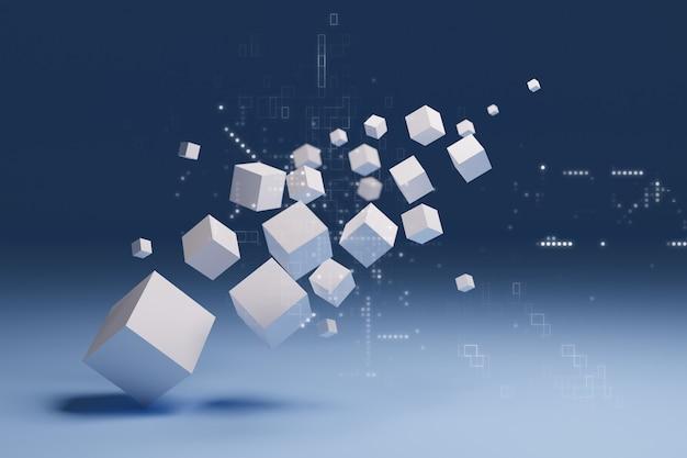 Cubo 3d abstracto, concepto de tecnología digital, renderizado de ilustraciones 3d