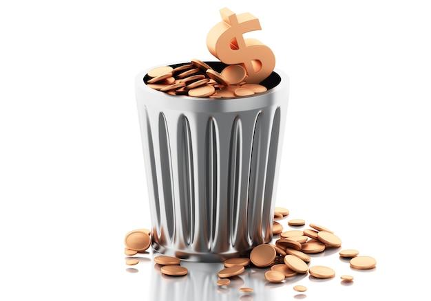 Cubo de basura 3d con monedas de oro.