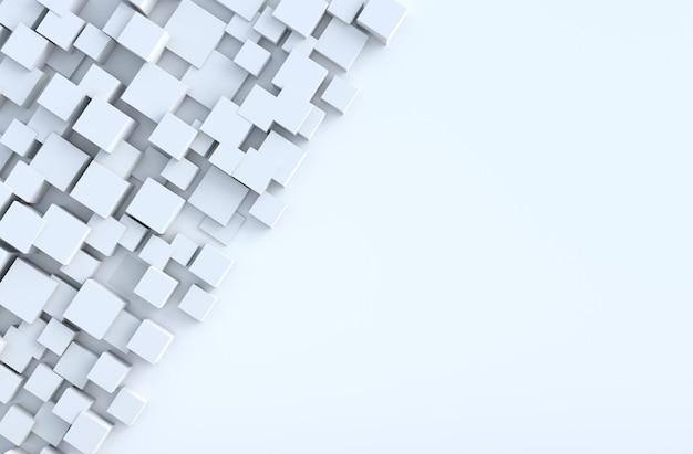El cubo geométrico blanco forma el fondo. para decorar el diseño. render 3d realista.