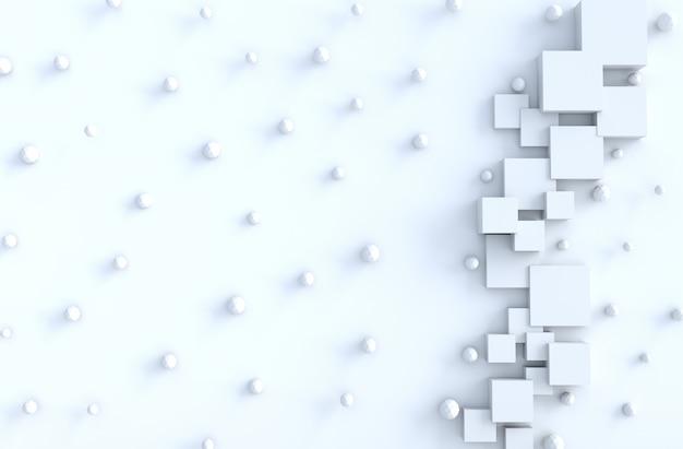 Cubo geométrico blanco, formas poligonales, fondo copia espacio.