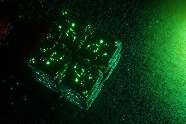 Cubo de neón verde sobre fondo verde
