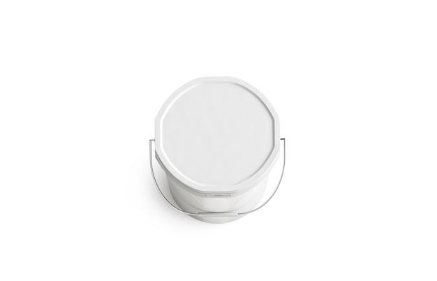 Cubo de pintura blanca en blanco con mango, vista superior, aislado