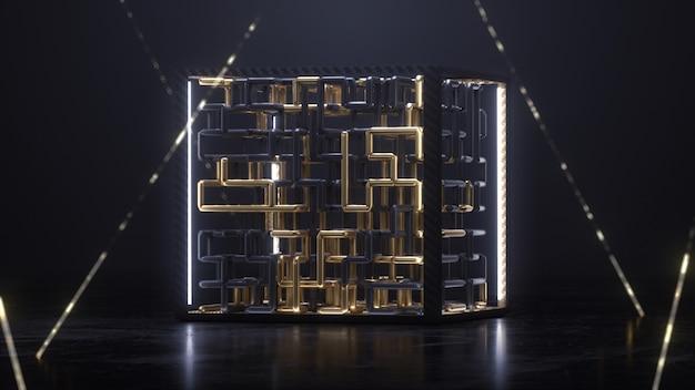 Cubo de procesamiento 3d con animación de laberinto dorado y negro dentro