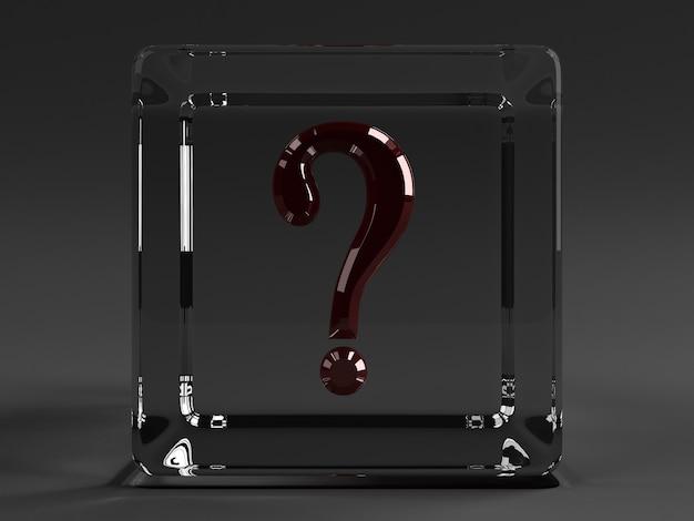 Cubo transparente con un signo de interrogación rojo
