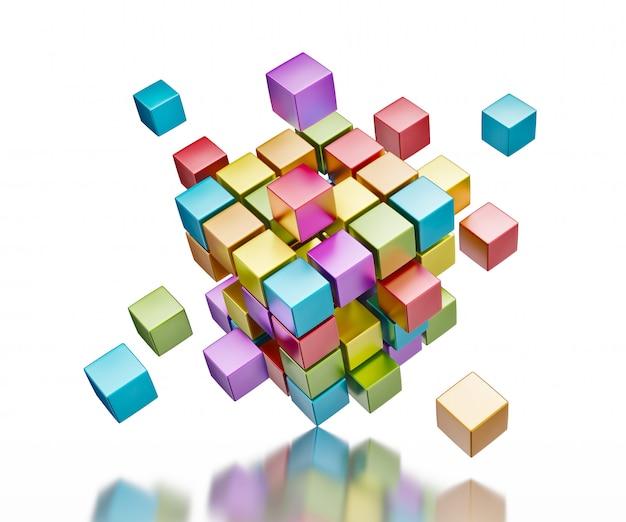 Cubos coloridos abstractos en superficie reflectante